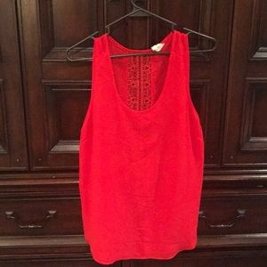 Sheer red tank top with lace detail in the back